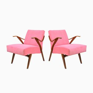Vintage Czechoslovakian Armchairs in Pink, 1960s, Set of 2