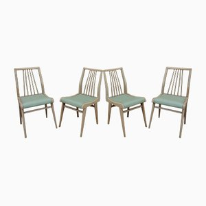 Vintage Beech & Green Faux Leather Chairs, 1950s, Set of 4
