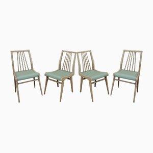 Vintage Stühle mit Gestell aus Buche & grünem Sitz aus Kunstleder, 1950er, 4er Set