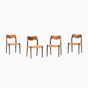 Model 71 Dining Chairs by Niels Otto Moller for J. L. Møllers, 1951, Set of 4