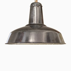 Large Vintage French Industrial Enameled Ceiling Lamp