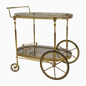 Large French Gilded Brass Bar Cart, 1950s