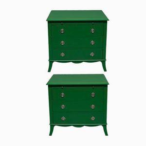 Grün lackierte Vintage Kommoden, 2er Set