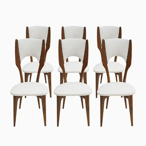 Italian Rosewood & White Cotton Chairs by Paolo Buffa, 1950s, Set of 6