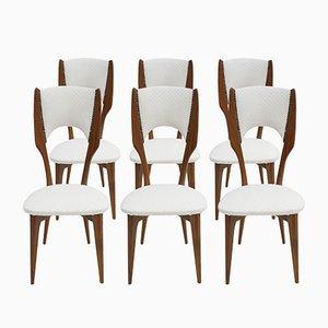 Sedie in palissandro e cotone bianco di Paolo Buffa, Italia, anni '50, set di 6