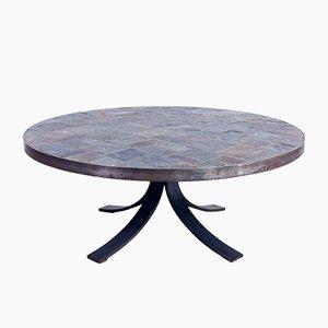 Table Basse Mid-Century en Acier, Ardoise et Pierre