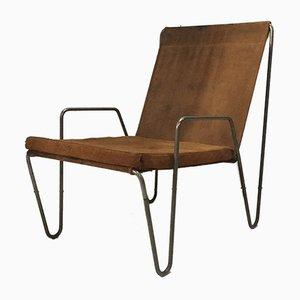 Sedia vintage in camoscio di Verner Panton per Fritz Hansen, anni '50