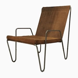 Vintage Suede Bachelor Chair by Verner Panton for Fritz Hansen, 1950s