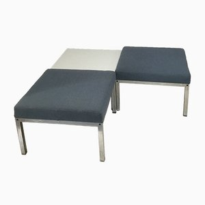 Vintage Square Table and 2 Stools, 1970s