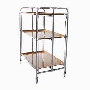 Vintage German Foldable 3-Tier Serving Trolley, 1960s