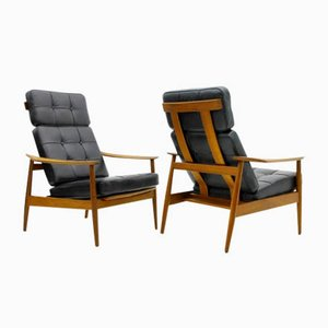 Reclining Teak and Leather Lounge Chairs by Arne Vodder for France & Søn, 1960s, Set of 2