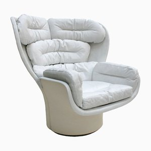 Elda White Leather & Fiberglass Swivel Lounge Chair by Joe Colombo, 1963