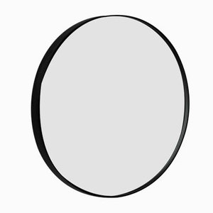 Small Silver Orbis Round Mirror with Black Frame by Alguacil & Perkoff
