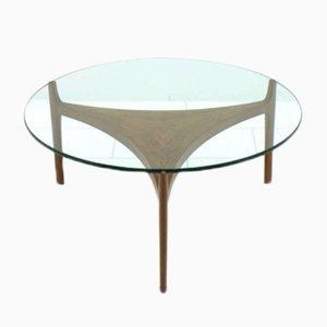 Mesa de centro de teca y vidrio de Sven Ellekaer para Christian Linneberg, años 60