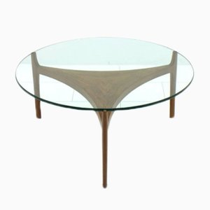 Table Basse en Teck et Verre par Sven Ellekaer pour Christian Linneberg, 1960s