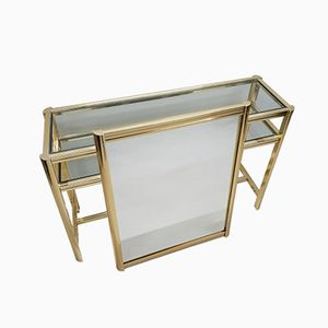 Gilt 2-Tier Console Table with Mirror, 1980s