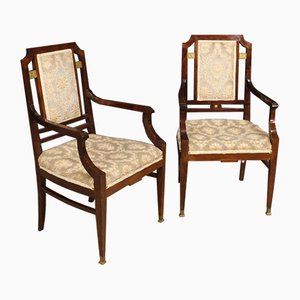 Vintage Art Deco Mahogany Armchairs, 1930s, Set of 2