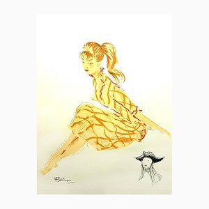 A Simple Young Woman Lithograph by Jean-Gabriel Domergue, 1956