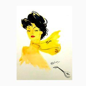 Lithographie Dark Hair Lady with a Scarf par Jean-Gabriel Domergue, 1956