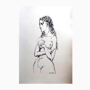Eve With an Apple Lithograph by Léonard Foujita, 1950s