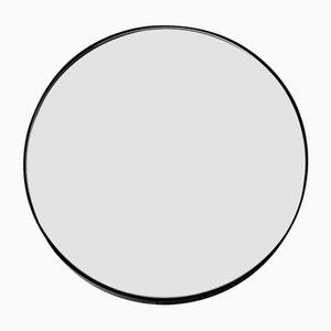 Runder mittelgroßer versilberter Orbis Spiegel mit schwarzem Rahmen von Alguacil & Perkoff