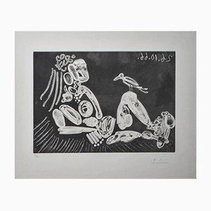 Incisione Femme à l'Oiseau di Pablo Picasso, 1968