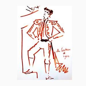Litografia Strength di Jean Cocteau, 1965