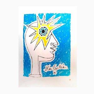 Lithographie Profil par Jean Cocteau, 1950s