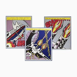 Triptyque As I Opened Fire Poster par Roy Lichtenstein pour Stedelijk Museum, 1960s