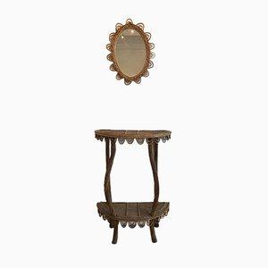 Consolle e specchio vintage in vimini