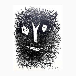 Deux Masques Lithograph by Pablo Picasso, 1964