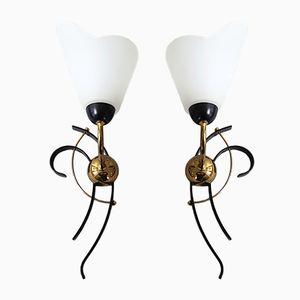 Französische Mid-Century Wandlampen aus Stahl, Messing & Glas, 1950er, 2er Set
