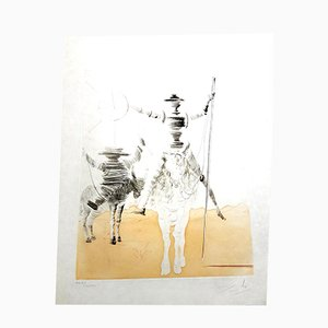 Don Quixote and Sancho Etching by Salvador Dali, 1980