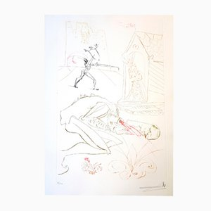 Fight Before la Dame Etching by Salvador Dali, 1975