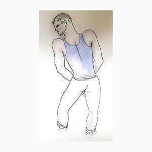 Litografia White Book colorata a mano di Jean Cocteau, 1930