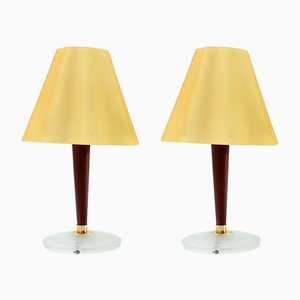 Glass & Wood Table Lamps by Fabbian, 1990s, Set of 2