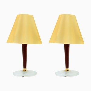 Lámparas de mesa de vidrio y madera de Fabbian, años 90. Juego de 2