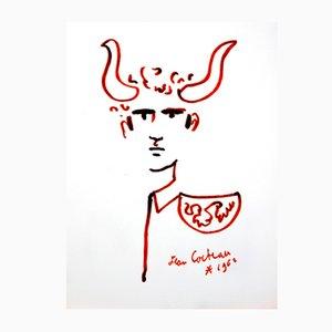 Bull - Man Lithografie von Jean Cocteau, 1965