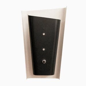 Minimalist Black & White Metal Sconce, 1960s