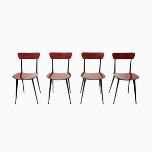 Mid-Century Italian Red Formica Dining Chairs, 1950s, Set of 4