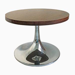 Tavolino da caffè vintage con base in alluminio, anni '70