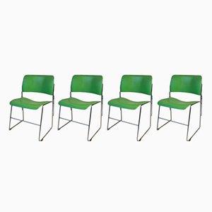 Sedie 40/4 vintage verde di David Rowland per General Fireproofing, set di 4