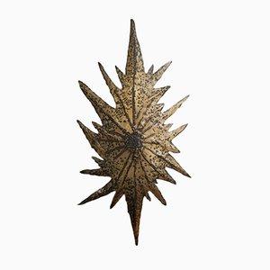 Brutalist Brass Leaf Sconce, 1970s