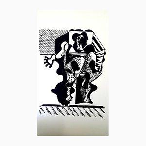 Gravure sur Bois Hélène Chez Archimède par Pablo Picasso pour Georges Aubert, 1955
