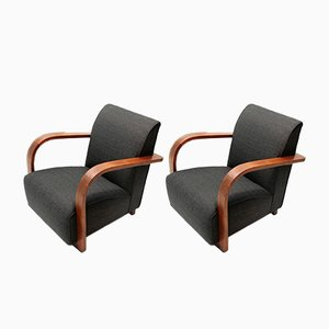 Italian Modernist Lounge Chairs, 1940s, Set of 2