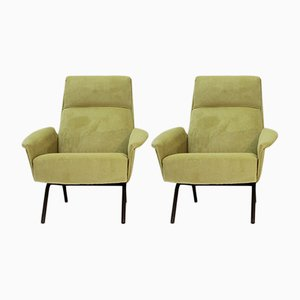 Mid-Century Italian Acid Green Velvet Lounge Chairs, 1950s, Set of 2