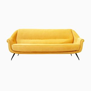 Mid-Century Italian Yellow Velvet Sofa, 1950s