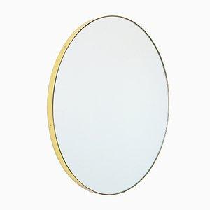 Très Grand Miroir Orbis Rond en Argent avec Cadre en Laiton par Alguacil & Perkoff