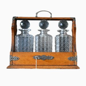 19th-Century Oak and Cut Glass Tantalus with 3 Decanters