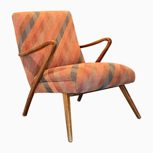 Vintage Scandinavian Wood and Fabric Armchair